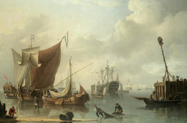 Wall Art - Painting - A Busy Harbour Scene With Dutch And British Shipping by Charles Martin Powell
