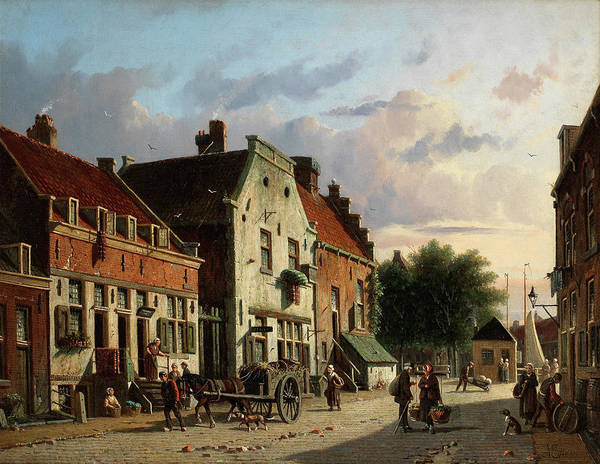 Wall Art - Painting - A Busy Street Scene In A Dutch Town by Adrianus Eversen