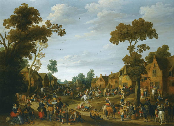 Wall Art - Painting - A Busy Village Scene With Soldiers And Peasants by Joost Cornelisz Droochsloot
