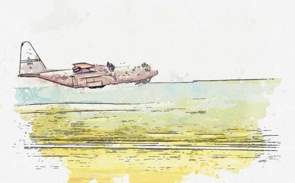 Wall Art - Painting - A C-130h Hercules, U.s. Air National Guard Watercolor By Ahmet Asar by Ahmet Asar