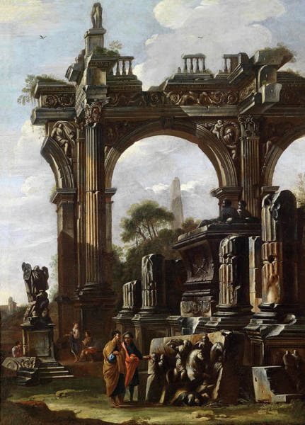 Collapse Painting - A Capriccio With Ruins And Figures by Domenico Roberti