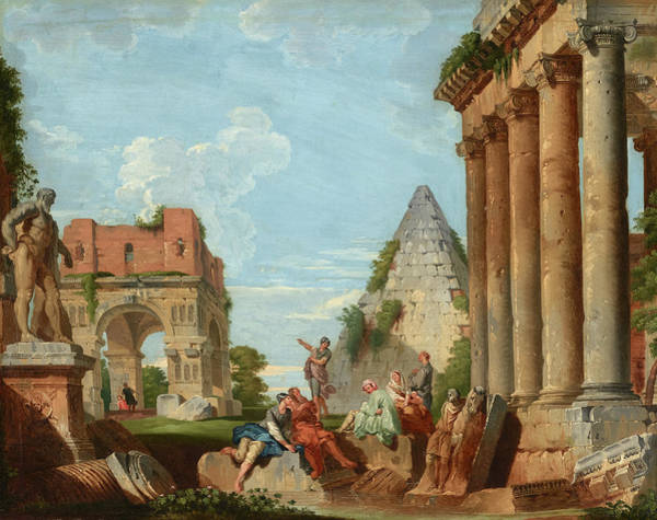 Collapse Painting - A Capriccio With The Arch Of Janus And The Farnese Hercules by Giovanni Paolo Panini