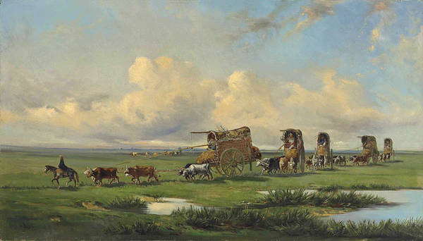 Painting - A Caravan Of Gauchos And Their Wagons Crossing The Pampas, Argentina by Jean Leon Palliere