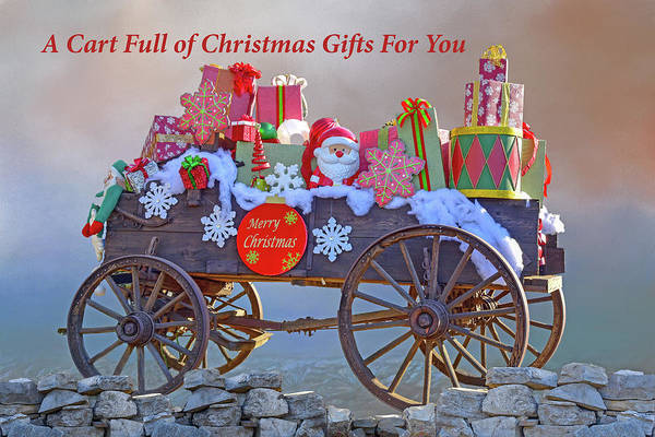 Wagon Wheel Digital Art - A Cart Full Of Christmas Gifts For You I by Linda Brody