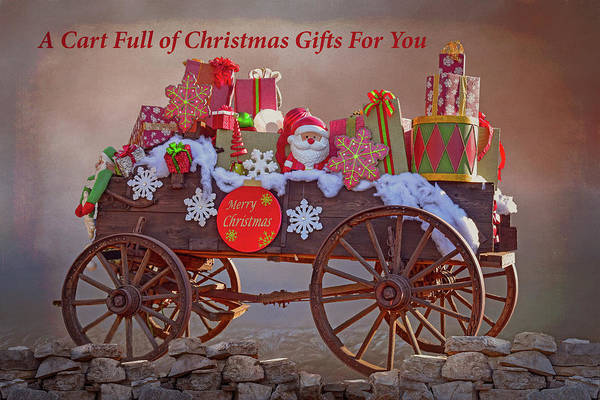 Wagon Wheel Digital Art - A Cart Full Of Christmas Gifts For You II by Linda Brody