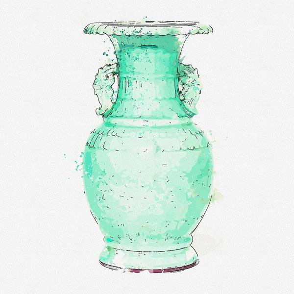 Painting - A Carved Celadon-glazed  Bamboo Archaistic Vase Qianlong Six-character Seal Mark Watercolor By Ahme by Ahmet Asar