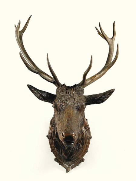 Wall Art - Painting - A Carved Wooden Red Deer Trophy With Red Deer Antlers, 19th Century by Celestial Images