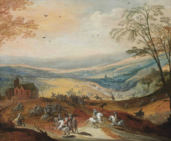 Painting - A Cavalry Skirmish In A Hilly Landscape, A Convoy Beyond by Joos de Momper