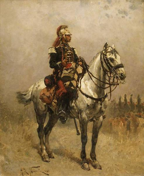 Wall Art - Painting - A Cavalryman  1884  By Alphonse De Neuville by Celestial Images