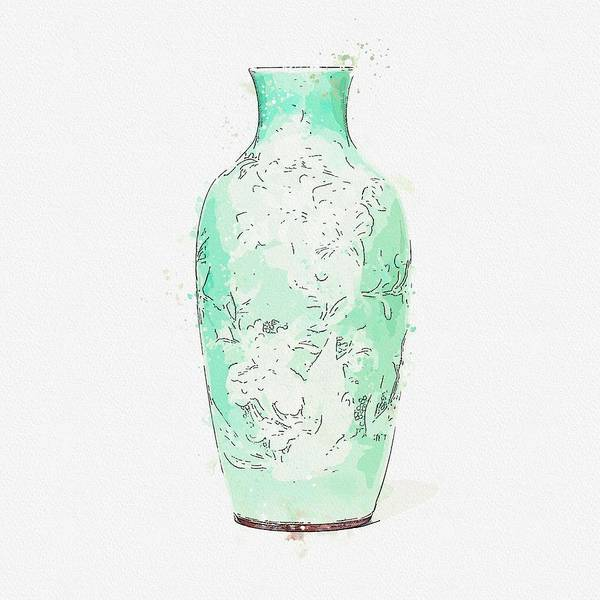 Painting - A Celadon-glazed Slip-decorated  Peony Vase  Guanyin Zun Qing Dynasty, 19th Century Watercolor By A by Ahmet Asar
