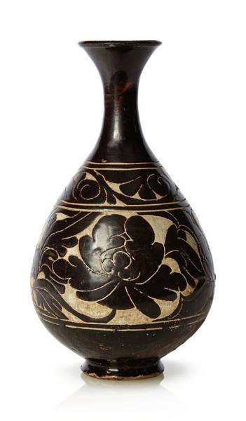 Wall Art - Painting - A Chinese Cizhou  Sgraffiato  -glazed Bottle Vase  Yuhuchun Ping  Jin Dynasty by Celestial Images
