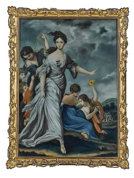 Wall Art - Painting - A Chinese Export Reverse Glass Painting Of Mrs. Hale As Euphrosyne Late 18th Century, After Sir Josh by Celestial Images