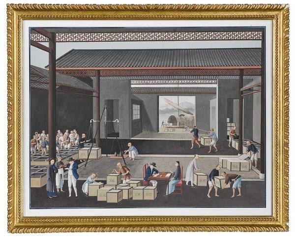 Wall Art - Painting - A Chinese School Painting Of A Tea Warehouse by Celestial Images