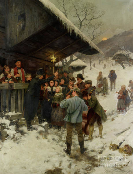 Wall Art - Painting - A Christmas Carol In Lucerne, 1887 by Hans Bachmann