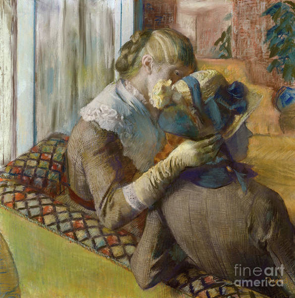 Wall Art - Pastel - A Client Trying A Hat by Edgar Degas