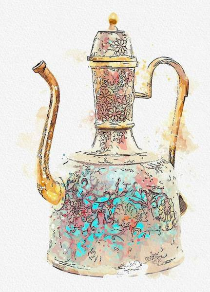 Painting - A Cloisonne Enamel Ewer And Cover Watercolor By Ahmet Asar by Ahmet Asar