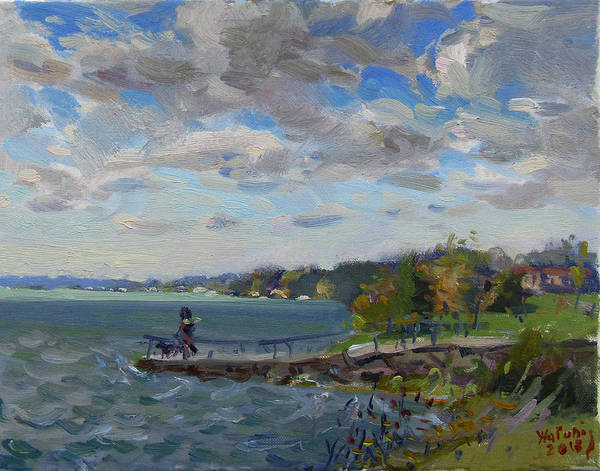 Lake House Painting - A Cloudy Day At Gratwick Park by Ylli Haruni