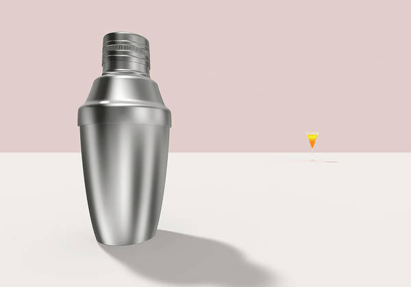 Cocktail Shaker Digital Art - A Cocktail Shaker And Cocktail by Yagi Studio