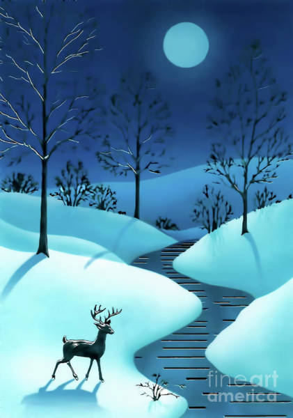 Digital Art - A Cold Winter Night by D Hackett