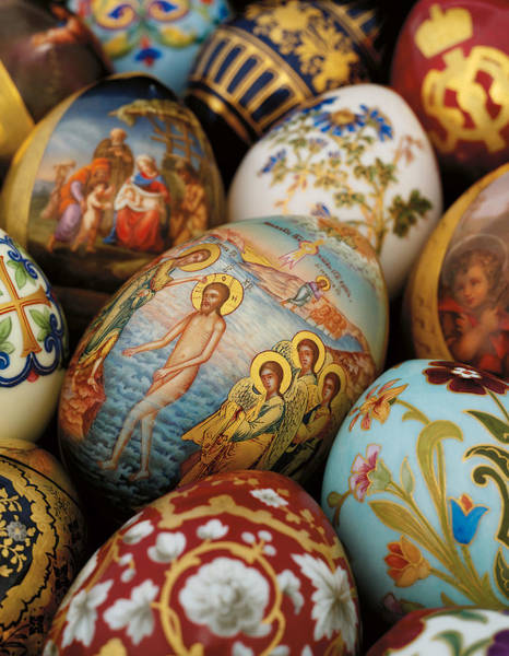 Religious Beliefs Mixed Media - A Collection Of Painted Porcelain Easter Eggs By The Imperial Porcelain Factory by Russian School