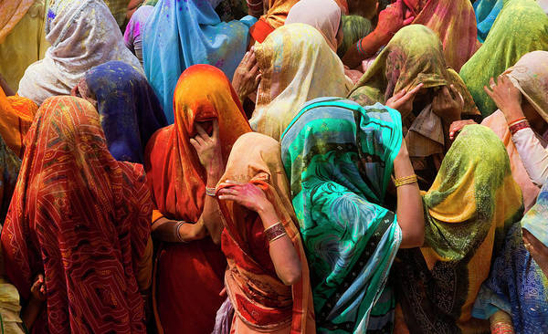 Holi Photograph - A Colorful Crowd Of People Celebrate by Mint Images/ Art Wolfe