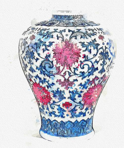 Painting - A Copper-red And Underglaze Blue Vase, Meiping Watercolor By Ahmet Asar by Ahmet Asar