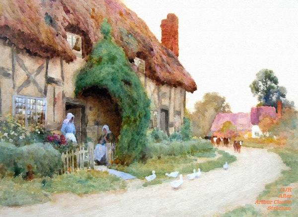New Trend Digital Art - A Country Hamlet - After The Original Painting By Arthur Claude Strachan L A S by Gert J Rheeders