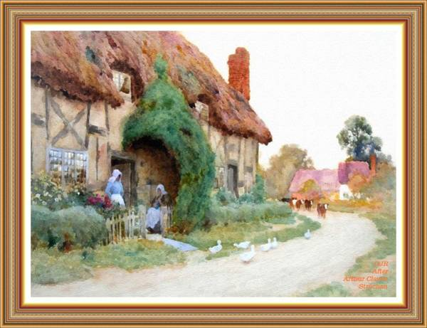 New Trend Digital Art - A Country Hamlet - After The Original Painting By Arthur Claude Strachan L A S - With Printed Frame by Gert J Rheeders
