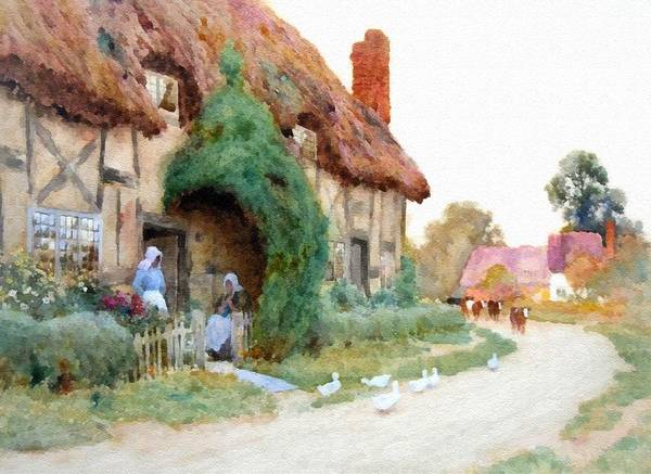 New Trend Digital Art - A Country Hamlet - After The Original Painting By Arthur Claude Strachan L B by Gert J Rheeders