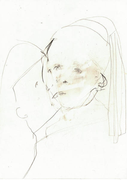 Drawing - A Couple Kissing by Artist Dot