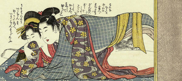 Wall Art - Painting - A Couple Making Love, 1790-1806 by Kitagawa Utamaro