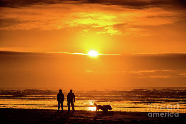 Photograph - A Couple Walking Their Dog At Sunset On Ynyslas Beach, Wales Uk by Keith Morris