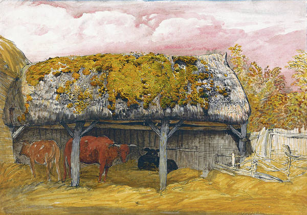 Wall Art - Painting - A Cow Lodge With A Mossy Roof - Digital Remastered Edition by Samuel Palmer