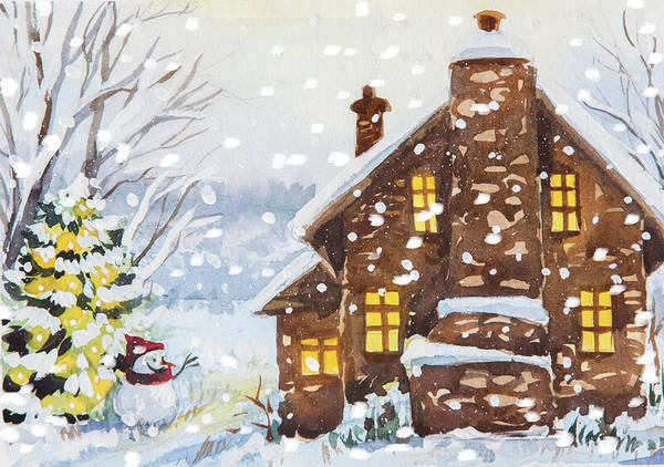 Trimming Painting - A Cozy House by Ema Malyauka