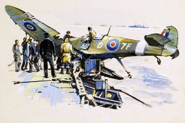 Flight Deck Painting - A Crashed Seafire by John S Smith
