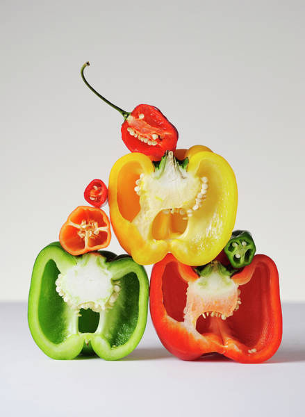 Healthy Eating Photograph - A Cross-section Of Peppers by David Malan