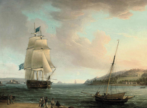Painting - A Crowded Flagship Of An Admiral Of The Blue Passing Mount Edgcumbe As She Closes Into Port At Plymo by Thomas Whitcombe