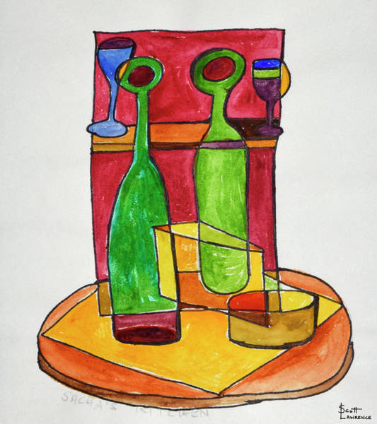 Wall Art - Photograph - A Cubist, Abstract Still Life Of Wine by Richard Lawrence