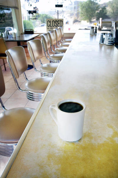 Bar Counter Photograph - A Cup Of Coffee At A Diner by Richard Ross