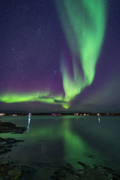 Photograph - A Curtain Of Aurora Sweeps by Alan Dyer