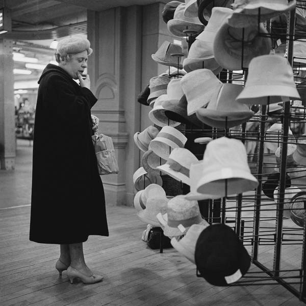 Customer Photograph - A Customer At Bhv Hat Department In 1961 by Keystone-france