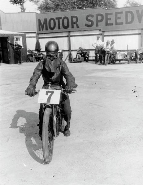 Motorcycle Racing Photograph - A Cyclist At Lea Bridge Speedway by Heritage Images
