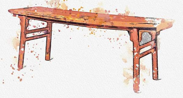 Painting - A Cyprus Wood Painting Table Qing Dynasty, 19th Century Watercolor By Ahmet Asar by Ahmet Asar