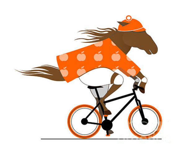 Fitness Digital Art - A Dappled Horse Riding A Bicycle. Cycle by Popmarleo