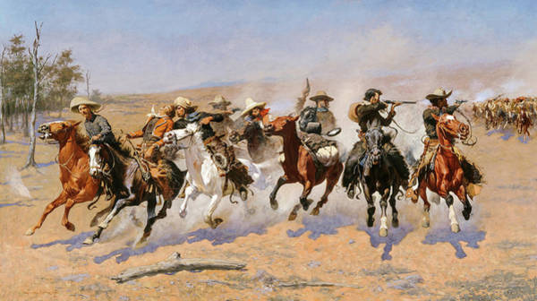 Wall Art - Painting - A Dash For The Timber, 1889 by Frederic Sackrider Remington