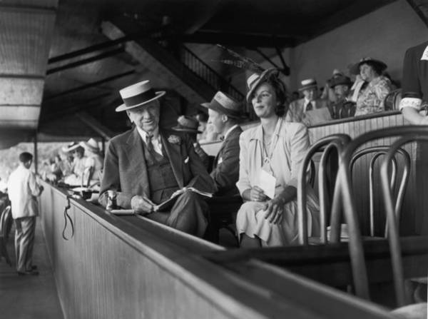 Straw Hat Photograph - A Day At The Track by Bert Morgan