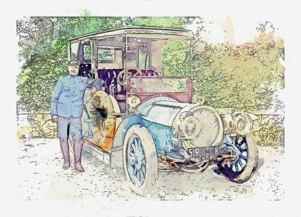 Painting - A Delaunay-belleville Limousine And Chauffeur, Somewhere In France. Watercolor By Ahmet Asar by Celestial Images