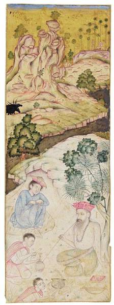 Wall Art - Painting - A Dervish Smoking A Hookah In A Rocky Landscape, India, Deccan, Possibly Bijapur, Circa 1600 by Celestial Images