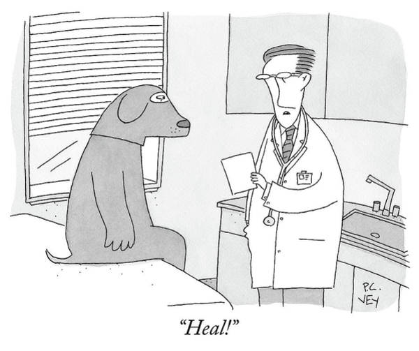 Medicine Drawing - A Doctor Speaks To A Man In A Dog Costume Who by Peter C Vey