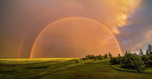Wall Art - Photograph - A Double Rainbow Over A Ripening Canola by Alan Dyer